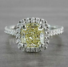 Yellow Cushion Cut 4.00 Ct Halo Moissanite Engagement Ring 10k Solid White Gold