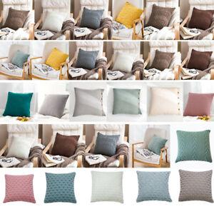 18'' Knitted Pillowcase Buttons Sofa Bed Throw Waist Cushion Covers Home Decor