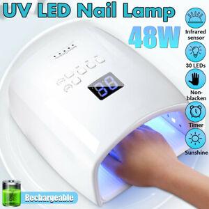 48W cordless wireless rechargeable LED/UV nail lamp nail polish glue nail
