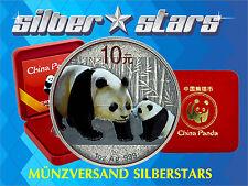 10 Yuan Silber China Panda 2011 Antique Finish Color Edition in Box und CoA