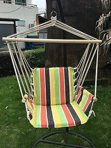 Cotton Fabric Hanging Rope Hammock Chair Swing Seat for Indoor Outdoor Spaces