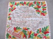 Vtg Batiste Canadian Souvenir Hankie Map of Canada Provinces Scalloped Edge1950s