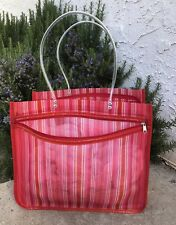 LARGE RED & PINK STRIPES MESH REUSABLE BEACH/SHOPPING TOTE BAG
