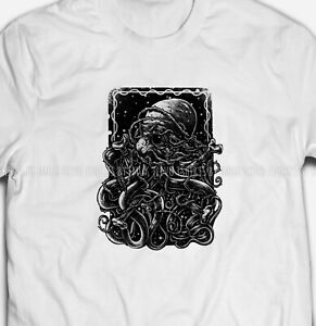 Mens Womens Octopus Sea Creature 100% Cotton White T-shirt Tee Top Size S-5XL