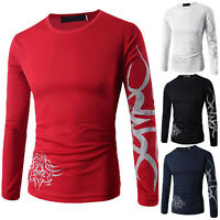 Men's Slim Fit Casual Printed Shirt T-Shirt Long Sleeve Cotton Tee Tops Blouse