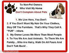 Funny Dog Basset Hound House Rules Refrigerator / Magnet Gift Card Idea