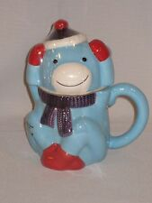 St. Nicholas Square Mug With Lid, Blue Monkey  (Coffee-Tea-Hot Cocoa)