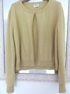 William Lockie 100% Scottish cashmere cardigan in mustard ochre Size L