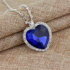 Titanic Heart Of The Ocean Sapphire Blue CZ Crystal Necklace Pendant Newly