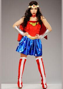 Adult Superhero Wonder Woman Corset Costume Hero Fancy Dress Outfit ALL SIZES