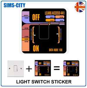 CONTROL PANEL STAR TREK TNG STYLE LIGHT SWITCH PLUG SOCKET STICKER VINYL TRK001
