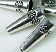 6 Silver Pewter Thai Karen Style Cone Cap Daisy Beads
