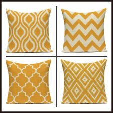 UK Mustard Yellow Geometric Cushion Covers Linen Large 18 inch / 45 cm Set of 4