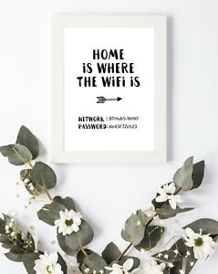 Print Poster Home is where Wifi Internet Living Room Wall Decor Art A4 A5