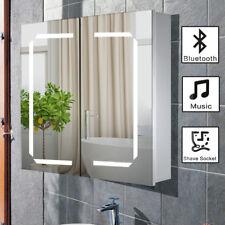 Bathroom Mirror Cabinet Bluetooth Shaver Socket Sensor Demister With LED Lights