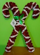 New Christmas Tinsel Red White Candy Cane Hanging Decoration  Indoors Out Doors
