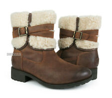 UGG Blayre III Chipmunk Leather Fur Boots Womens Size 8.5 *NEW*