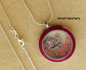 Pink Breast Cancer Awareness Ribbon Hope Living Memory Floating Charm Necklace