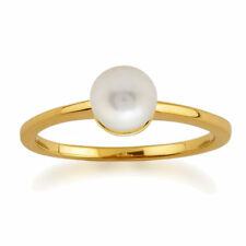 Freshwater Pearl Solitaire Yellow Gold Fine Rings