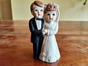 """Vintage Chalk Ware Wedding Cake Topper - Bride and Groom 4"""" Tall"""