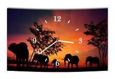 LAUTLOSE Designer Wanduhr Afrika Elefant Elefanten schwarz orange modern Dekosch