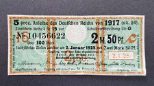 5 % Anleihe des Deutschen Reichs 2,5 Mark 1917 Zinsschein Banknote Grün (8095)