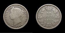 1880H Canada Silver Ten 10 Cents Queen Victoria F-12