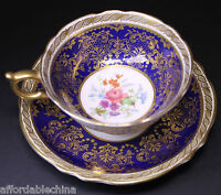 Gorgeous Paragon Cobalt and Gold Floral Centered Cup and Saucer - B