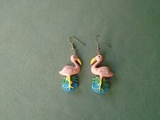 """2.5"""" Gold Tone French Hook Dangle Earrings Flamingo Standing in a Field of Grass"""