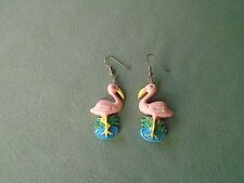 "2.5"" GoldTone French Hook Dangle Earrings Pink Flamingo Standing Field of Grass"