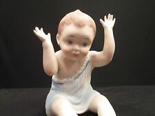 Bisque Piano Baby Boy in Blue Hands in Air Large German Antique Victorian Doll
