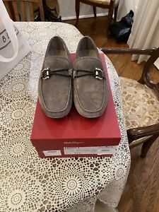 Salvatore Ferragamo Men Front 4 Suede Drivers Loafers Driving Shoes 7.5 EEE NIB