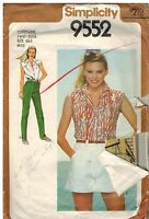 9552 Vintage Simplicity Sewing Pattern Misses Shirt Wide Legged Shorts Pants OOP