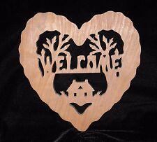 WOOD WELCOME HEART PLAQUE ~ EUC!