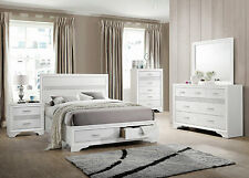 Modern White Finish 5 piece Bedroom Suite with Queen Size Platform Bed Set IA7U