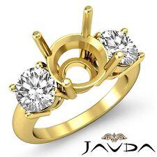 Round Diamond 3 Stone Engagement Ring Prong Set Semi Mount 18k Yellow Gold 1.5Ct