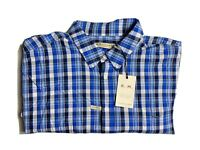 R M Williams Mens Shirt Collins Long Sleeve Blue White Check Size 3XB BNWT