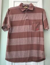 Vintage RIP CURL Men's Reddish-Brown Polo Shirt Short Sleeve Wide Stripe Size M