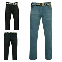 """New Mens boys Branded Carlos Belted Slim Jeans Jean Waist 30 to 40"""" S/R/L"""