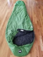 """Excellent! Women's REI """"LUMEN 40F"""" THERMAWAVE Green SLEEPING BAG (Long/Right)"""