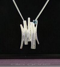 Scottish Ola Gorie Silver Pendant Blue Topaz Chain Woodwick