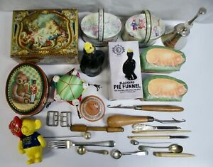 Job Lot Vintage Collectables, Tins, Boxes, Bells, Tools, Spoons Etc, 26 Items