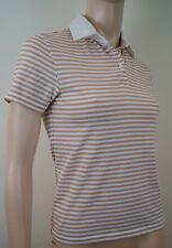 BURBERRY London Cream & Brown Cotton Stretch Striped Polo Shirt T-Shirt Top Sz:S