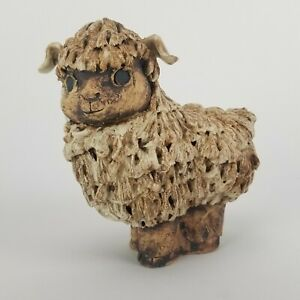 Mid Century Sheep Pottery Sculpture Mary Fortna California Potter Vintage 6in