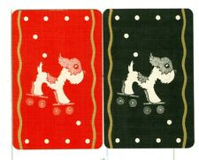 """Two Single Vintage """"Rollalong"""", Playing Cards Pair, Red/Black, Pup on Skates"""