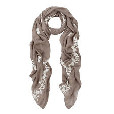 Premium Elegant Lace Cherry Blossom Floral Embroidered Scarf Wrap - Diff Colors