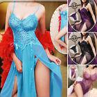 femme sexy lingerie chemise de nuit G-string Nuisette Robe en dentelle robe bleu