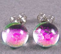 """DICHROIC Post EARRINGS Tiny 1/4"""" 7mm Clear Opal Pink Magenta Fused GLASS STUDS"""