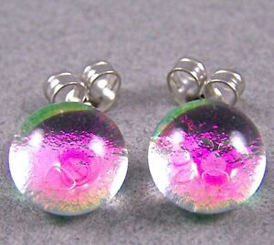 """DICHROIC GLASS Post EARRINGS Tiny 1/4"""" 7mm Clear Opal Pink Magenta STUDS Round"""