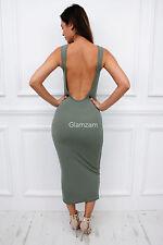 New womens ladies low scoop back maxi bodycon sleeveless backless khaki dress